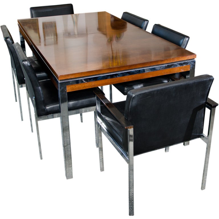 Mid Century Walnut Chrome Dining Table And Six Chairs At 1stdibs