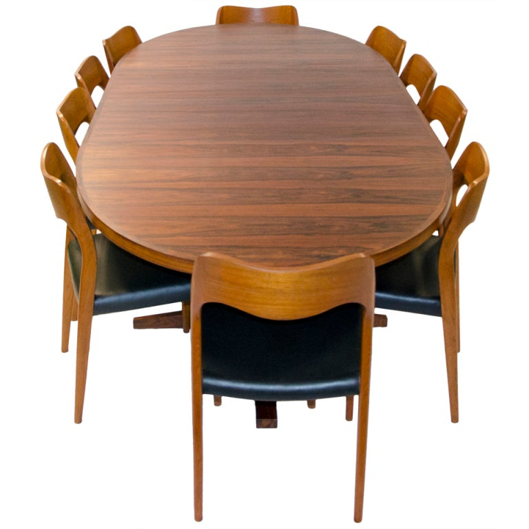 john mortensen rosewood oval dining table two leaves at 1stdibs. Black Bedroom Furniture Sets. Home Design Ideas