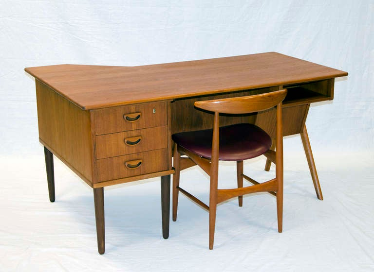 Danish Teak Desk Two Sided At 1stdibs