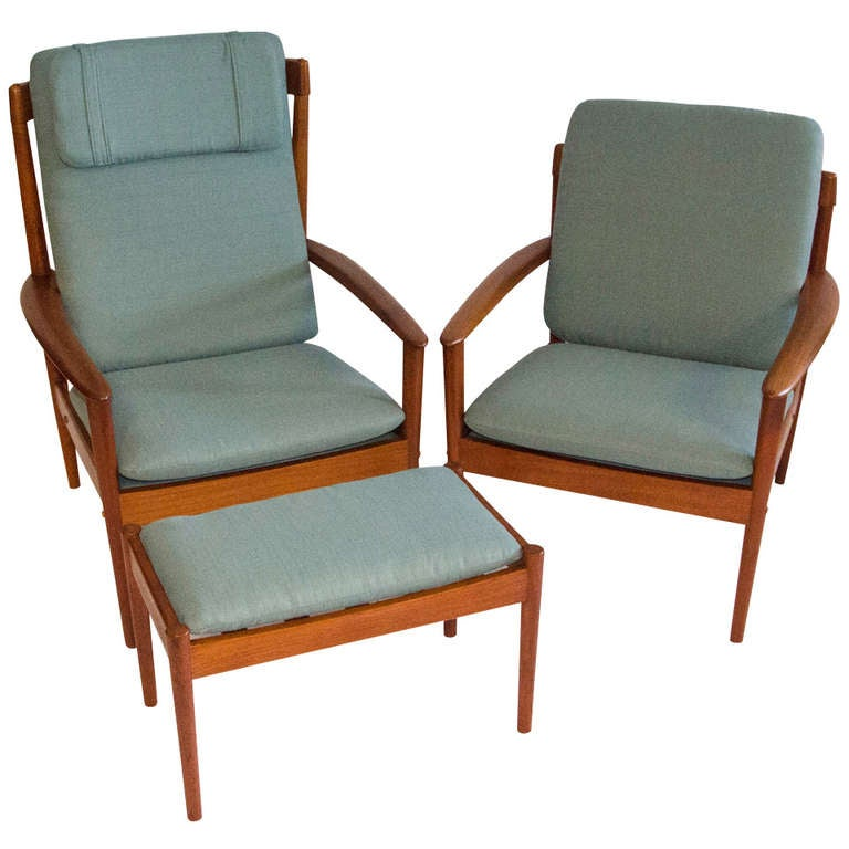 Mid Century Pair Of Teak Lounge Chairs And Ottoman Grete Jalk At 1stdibs