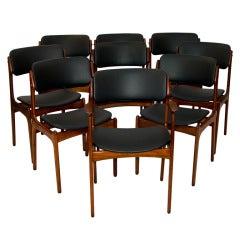 Danish Teak Set of 12 #49 Erik Buck Chairs (9 shown)
