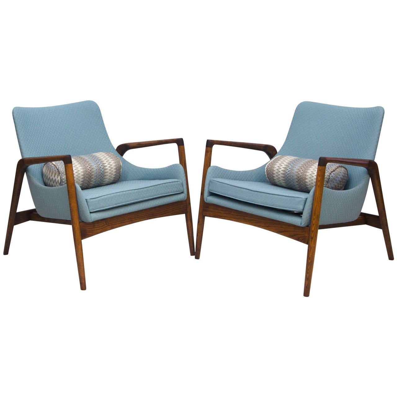 This sculptural pair of lounge chairs by ib kofod larsen is no longer - Mid Century Pair Of Danish Lounge Chairs Ib Kofod Larsen 1