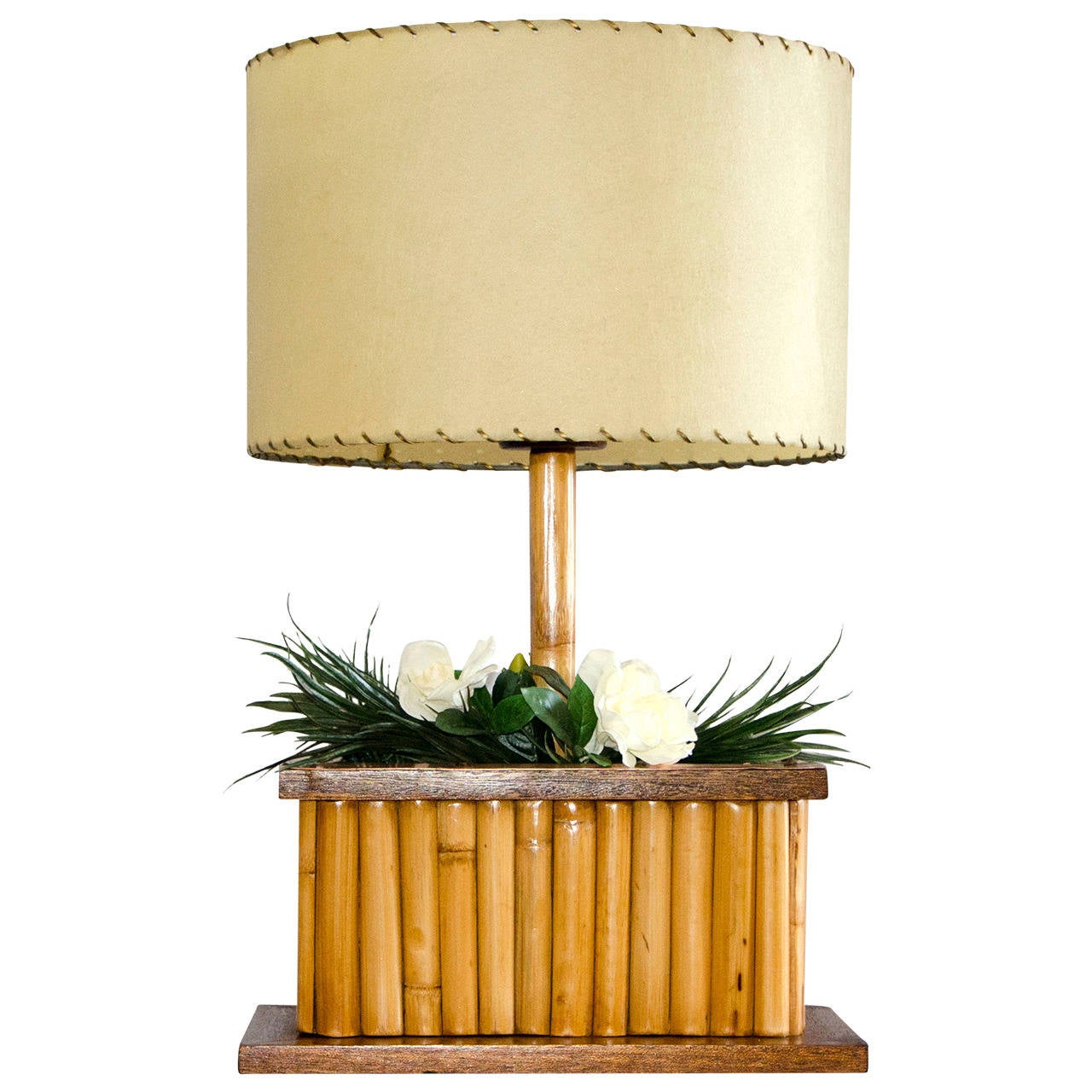 Mid Century Rattan Lamp With Planters And Gardenias At 1stdibs