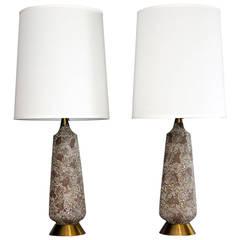 Mid-Century Textured Ceramic Pair of Lamps