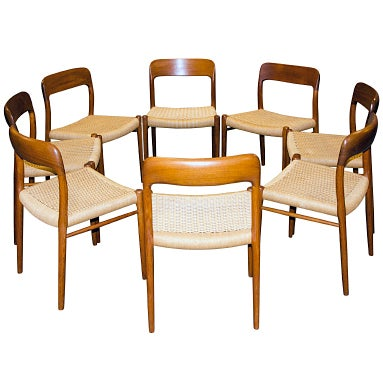 Eight Danish Teak Dining Chairs N O Moller 75 At 1stdibs