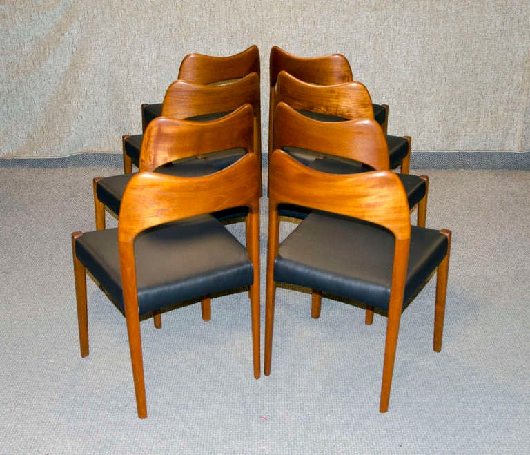 eight danish teak dining chairs mogens kold at 1stdibs