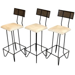 Three Wrought Iron Barstools