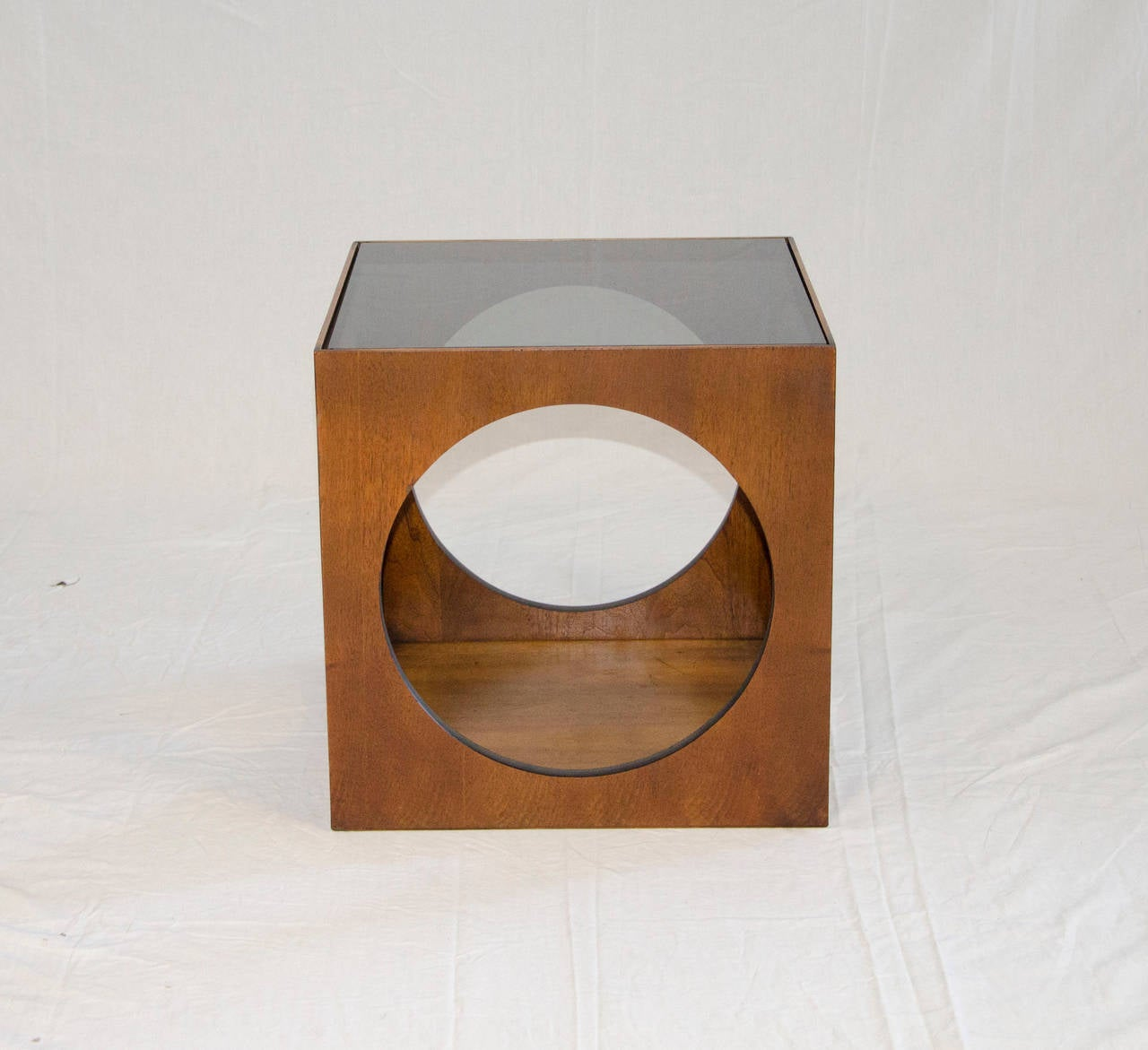 Midcentury Walnut Cube Accent Table By Lane 2