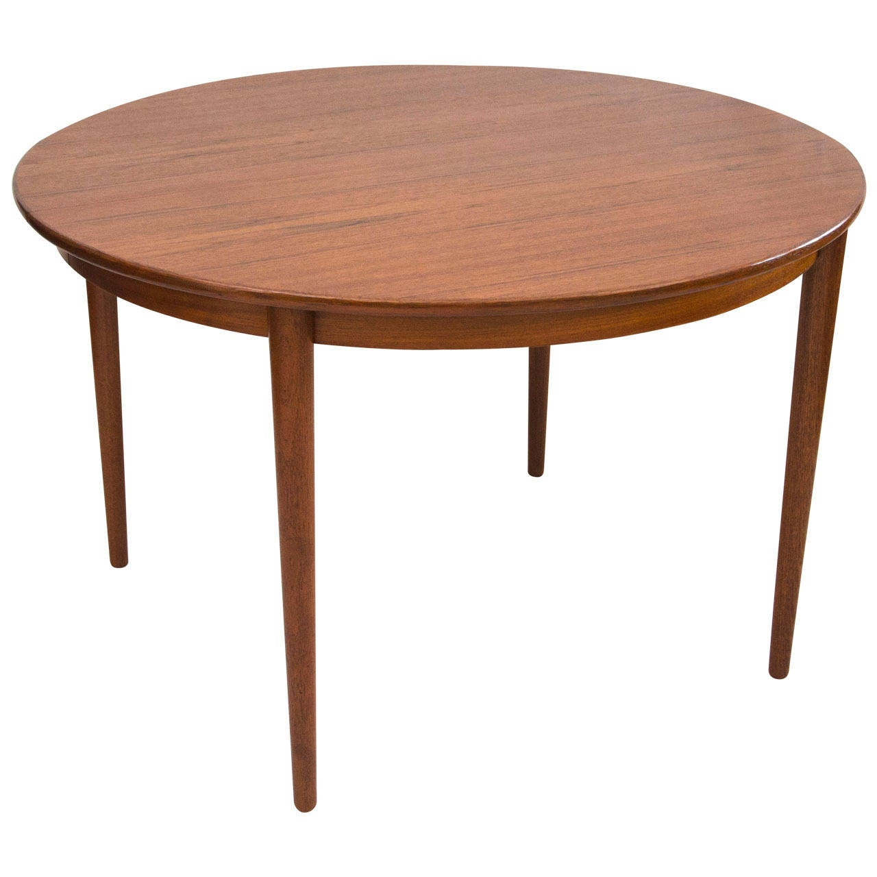 Danish Round Teak Dining Table With Two Leaves By Moreddi