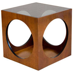 Midcentury Walnut Cube Accent Table by Lane