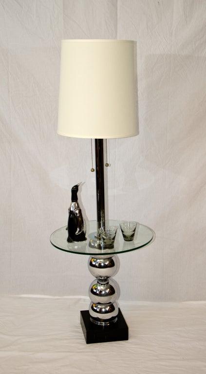 Mid century floor lamp table chrome and glass at 1stdibs for Floor lamps chrome and glass