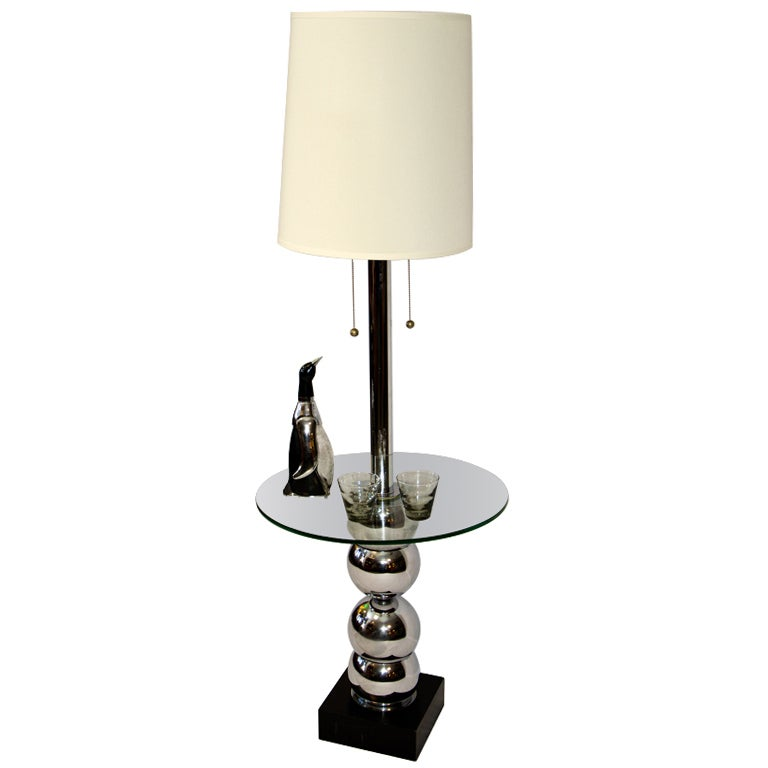 Charming Mid Century Floor Lamp / Table Chrome U0026 Glass 2
