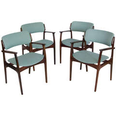 Four Mid-Century Rosewood Armchairs by Erik Buck