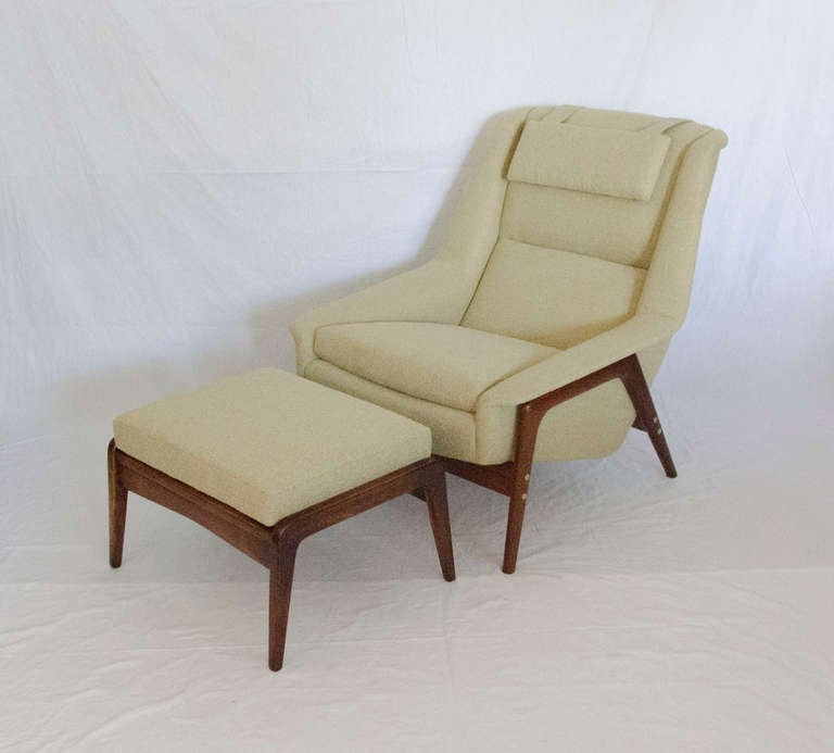 Mid Century Lounge Chair and Ottoman for Dux Sweden at 1stdibs