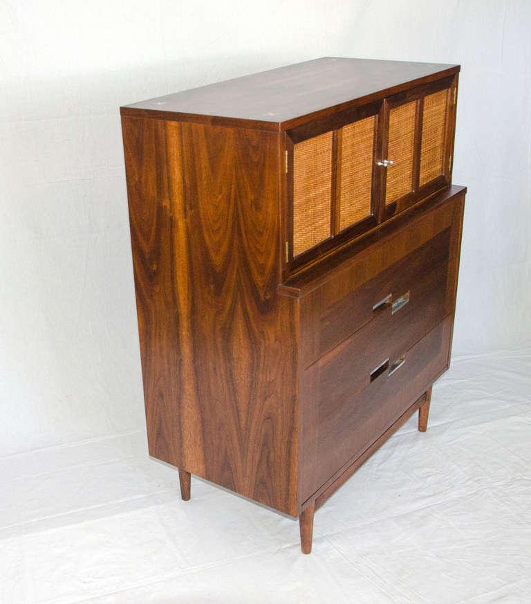 Mid century walnut hiboy dresser american of for Mid century american furniture