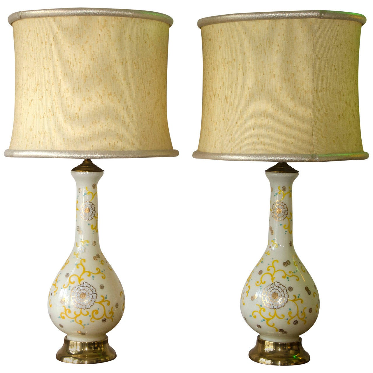 Pair of Mid Century Lamps in Glass, Hollywood Regency