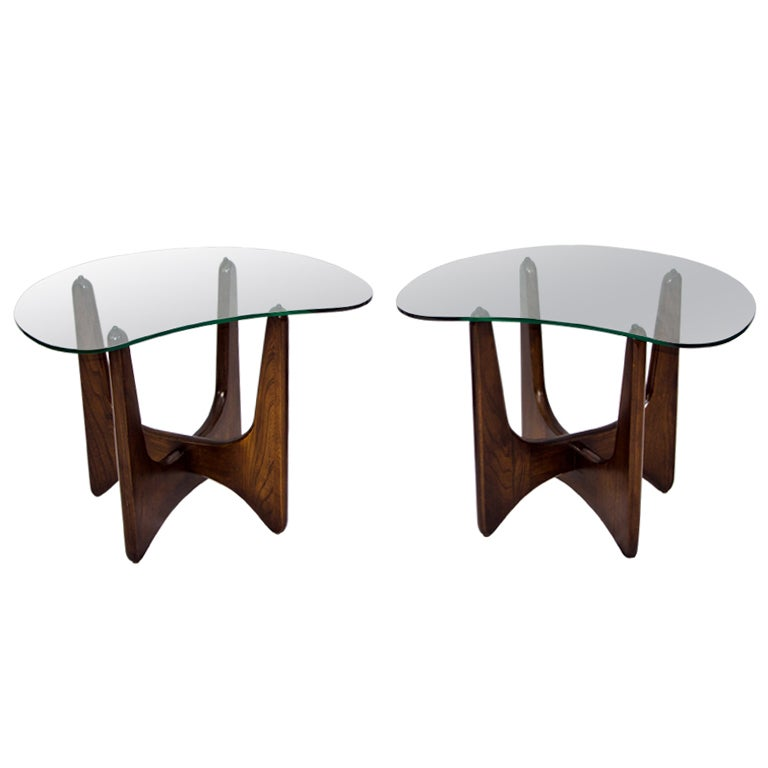 Glass Top End Tables Pair Wood Base At 1stdibs