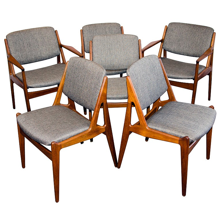 Danish teak swivel back dining chairs set of 6 arne vodder for Swivel dining room chairs
