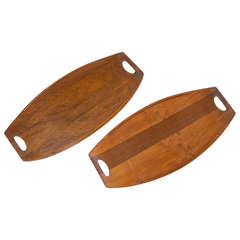 Pair of Teak Serving Trays by Dansk - IHQ with Four Ducks Logo