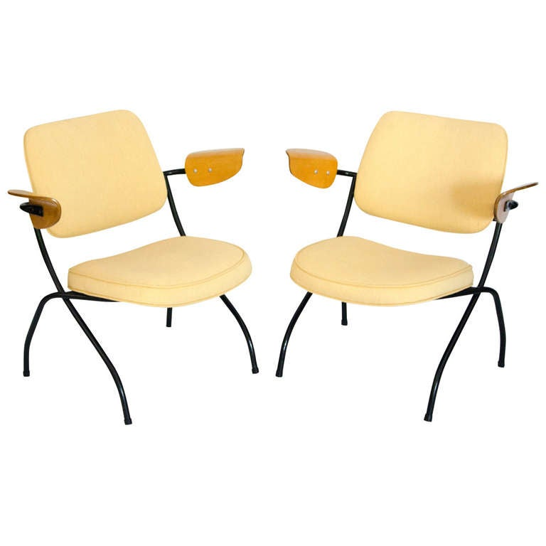 Pair of small industrial lounge chairs thonet for sale for Small lounge chairs for sale