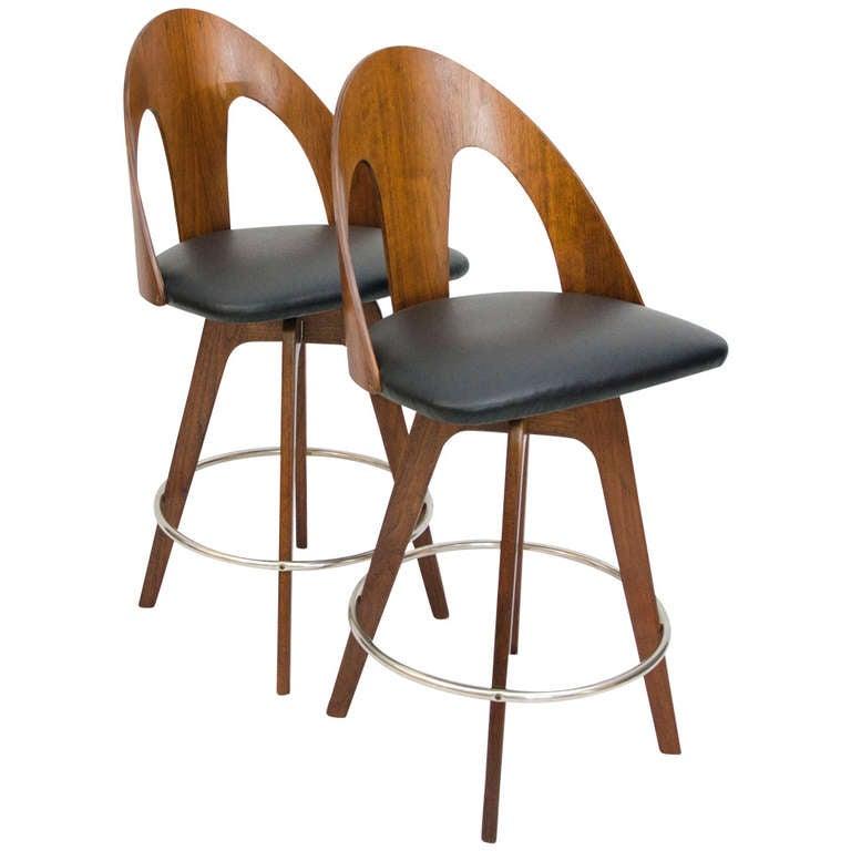 Pair Of Mid Century Danish Style Barstools At 1stdibs