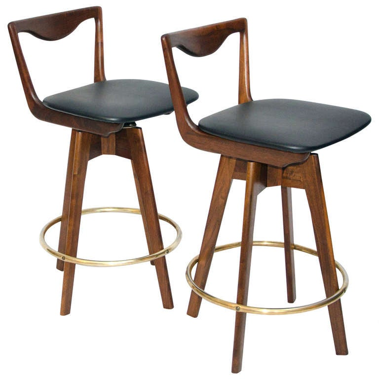 Pair Of Mid Century Danish Style Bar Stools At 1stdibs