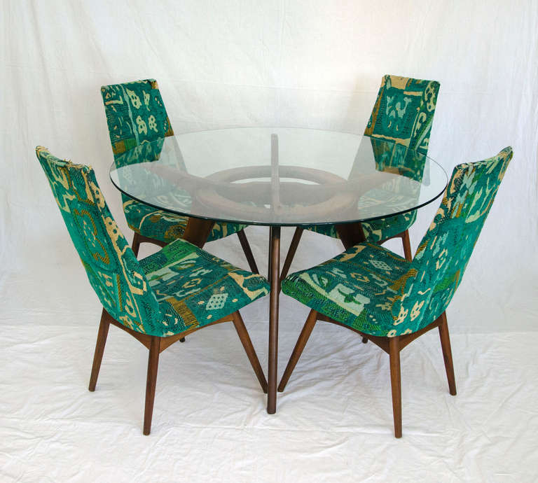 Very nice smaller dining set perfect for a breakfast area or smaller size dining area. Plenty of leg room. Retains original Craft Associates tag on chairs. Chairs shown with original upholstery but in need of reupholstery.   Chair dimensions are: