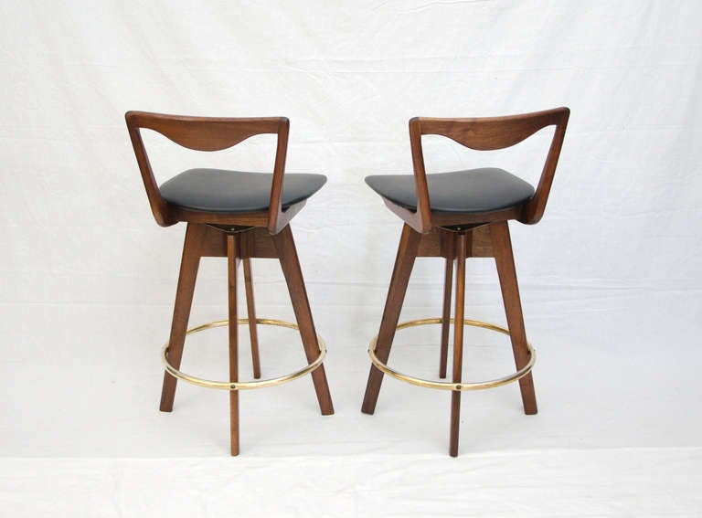 Unknown Pair Of Mid Century Danish Style Bar Stools For