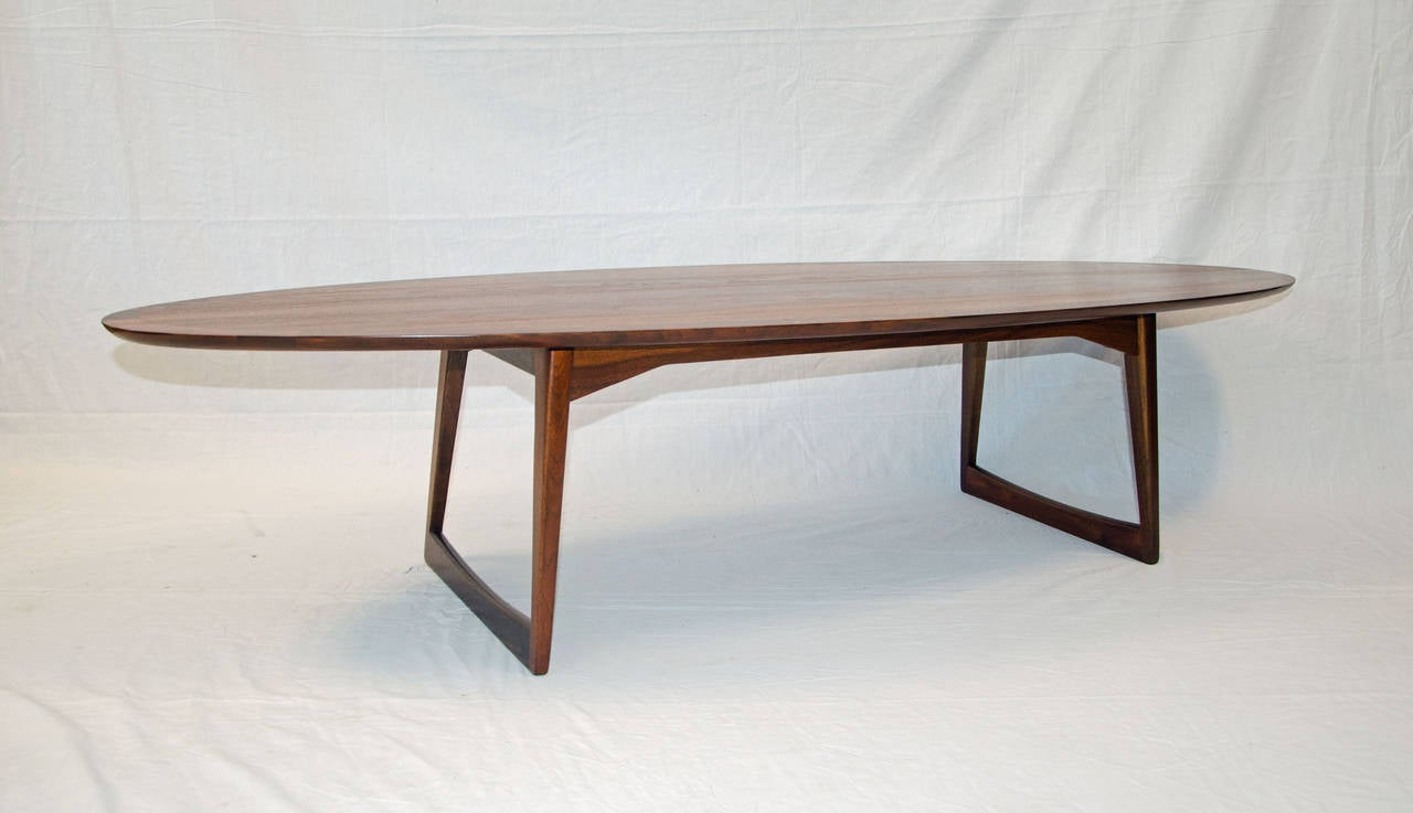 mid-century walnut surfboard coffee table, mm moreddi at 1stdibs