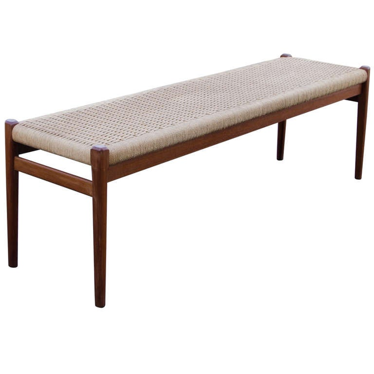 Rare N O Moller Danish Teak Bench With Cord Seat At 1stdibs