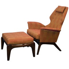 Mid Century Lounge Chair and Ottoman, Adrian Pearsall