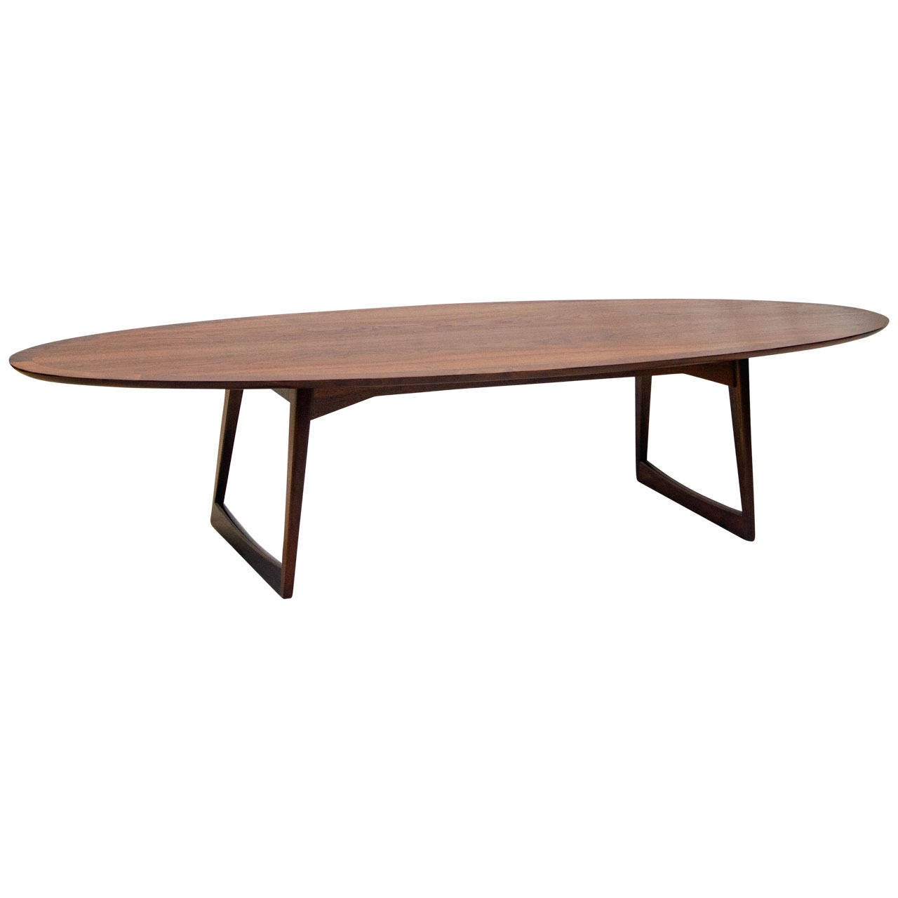 Vintage 71 Mid Century Modern Lane Danish Style Surfboard: Mid-Century Walnut Surfboard Coffee Table, MM Moreddi At
