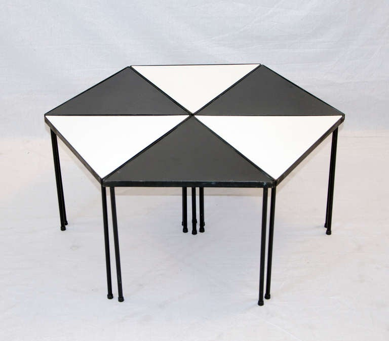 Metal And Black And White Laminate Small Set Of Tables At