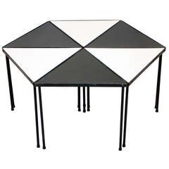 Metal and Black and White Laminate Small Set of Tables