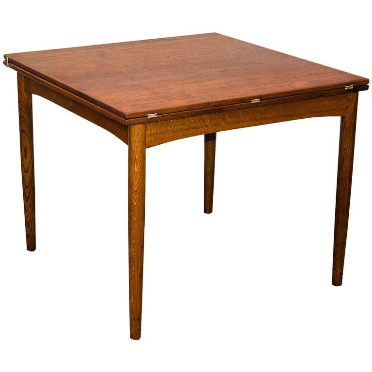 Mid Century Small Danish Teak Flip Top Dining Table By Borge Mogensen