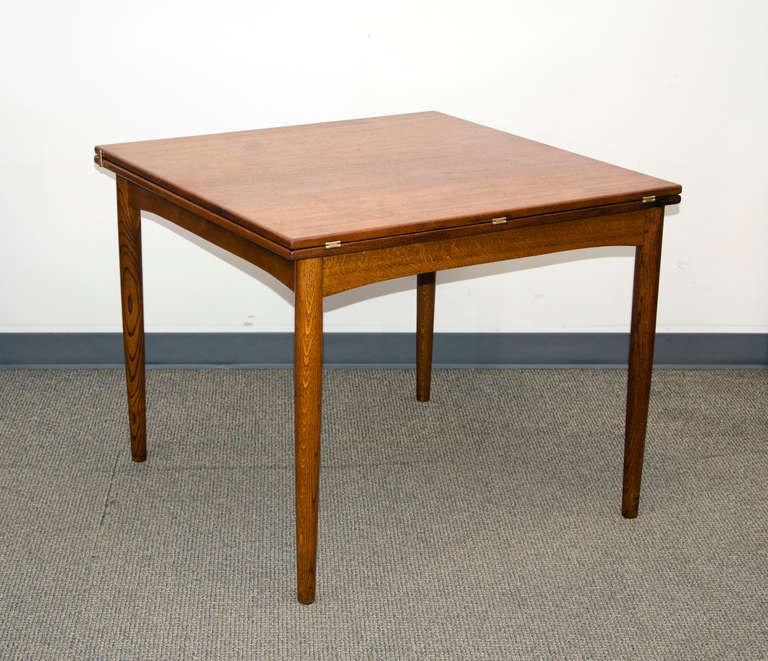 Mid Century Small Danish Teak Flip Top Dining Table By Borge