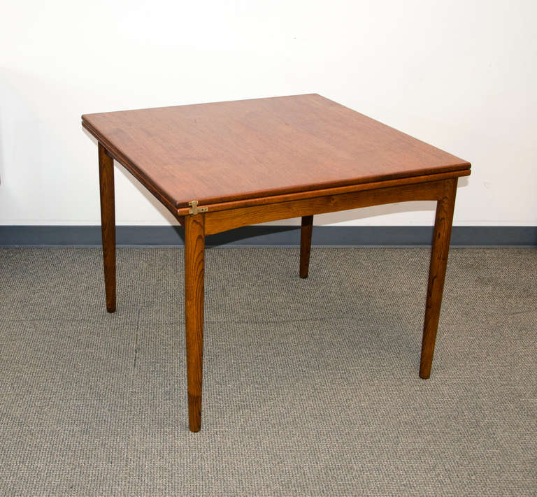 Mid Century Modern Small Danish Teak Flip Top Dining Table By