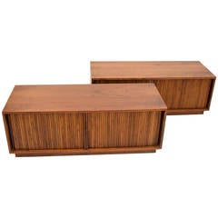 Pair of Mid Century Record Cabinets or Credenzas with Tambour Doors