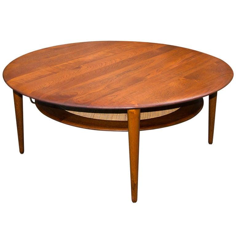Round Danish Solid Teak Coffee Table Peter Hvidt At 1stdibs