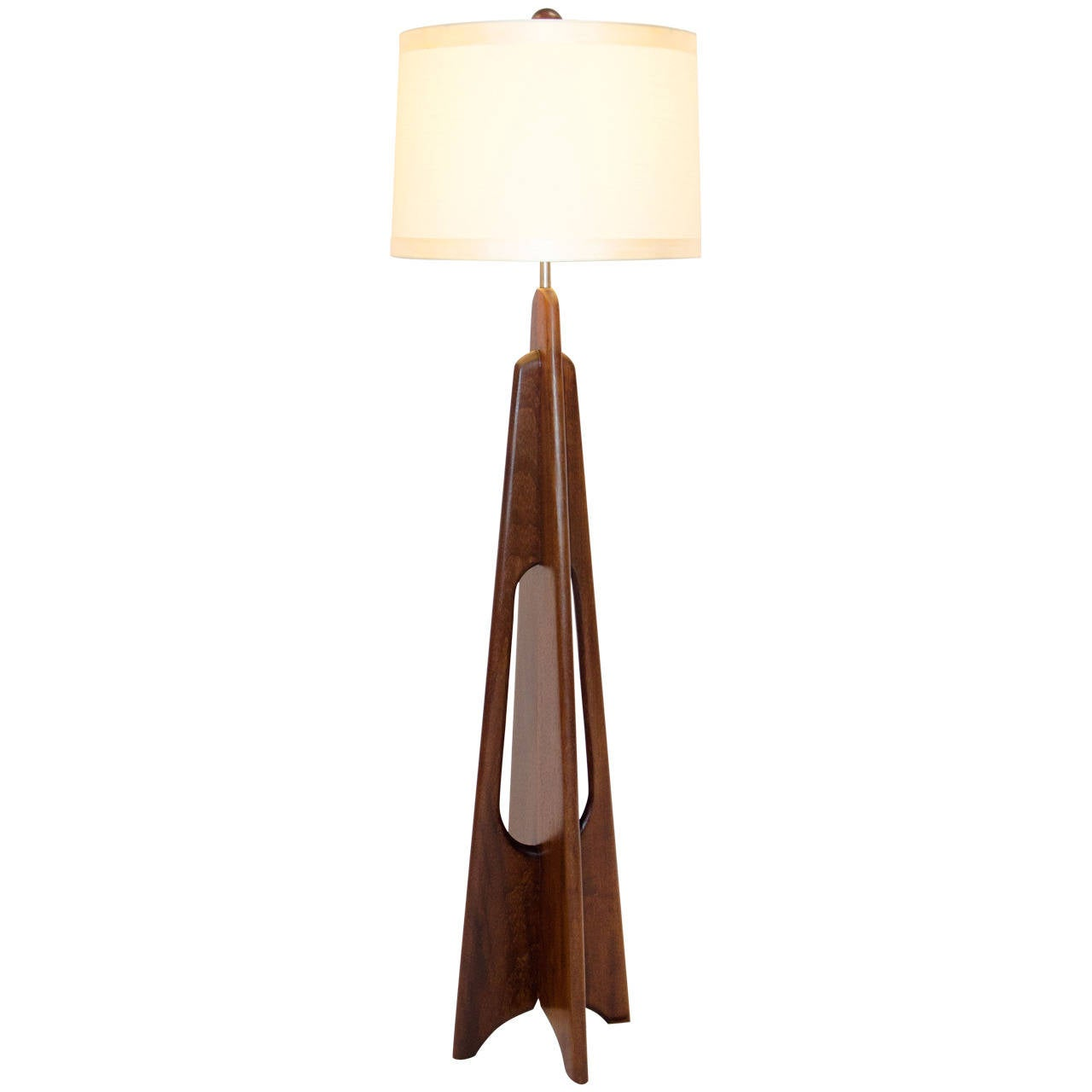Mid Century Solid Mahogany Floor Lamp, Modeline Style At