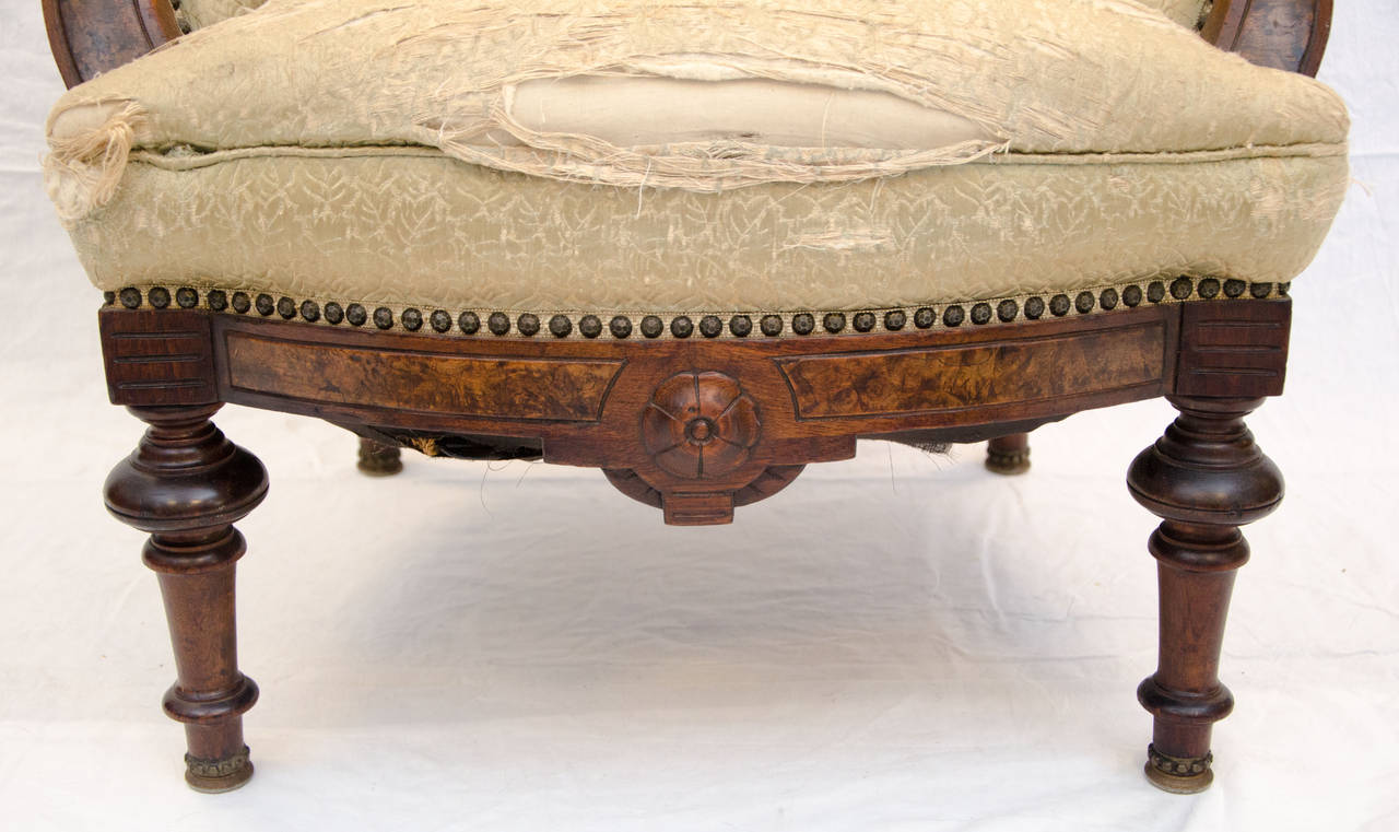 American Walnut Victorian Parlor Chair at 1stdibs