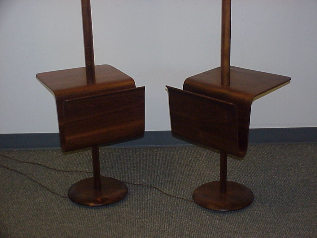 Pair of bent ply magazine tables with attached lamps at 1stdibs