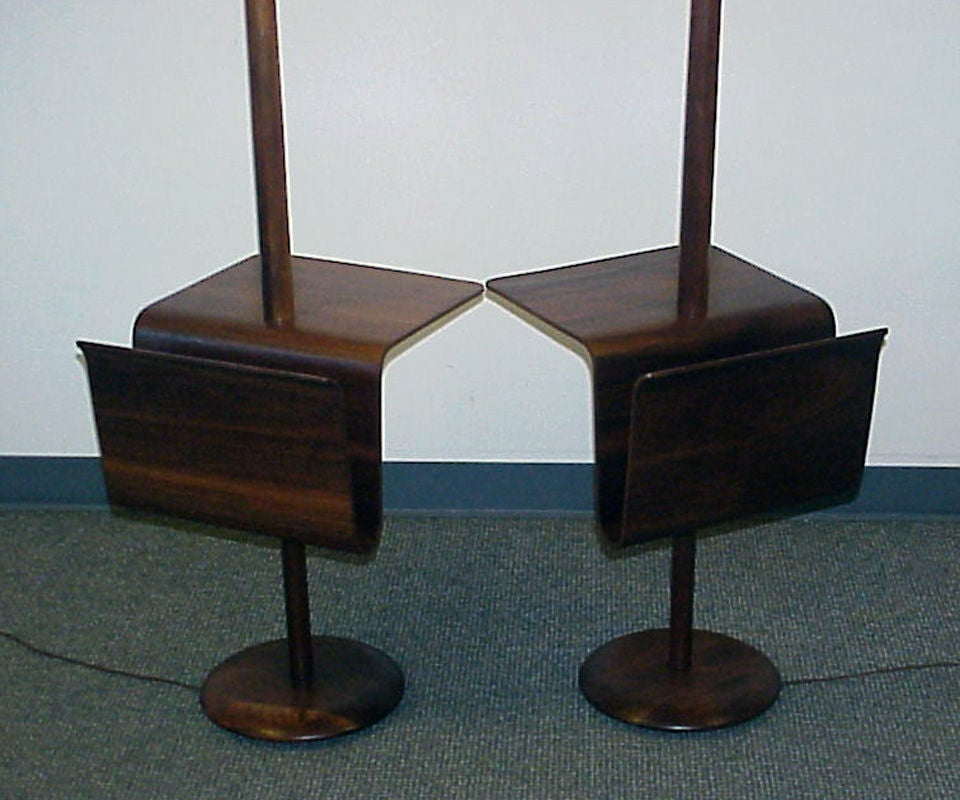 pair of bent ply magazine tables with attached lamps at 1stdibs. Black Bedroom Furniture Sets. Home Design Ideas