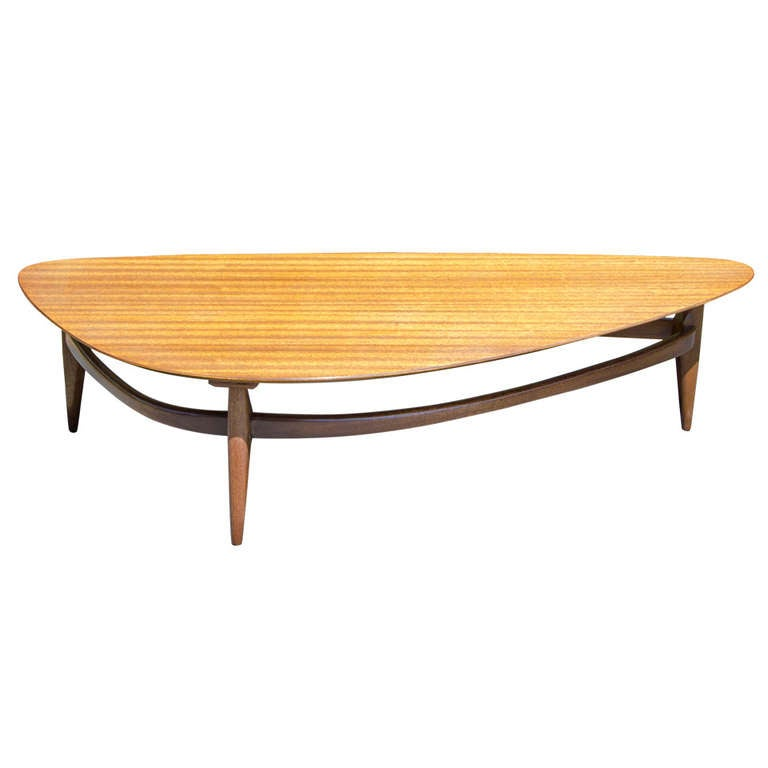 Mid Century Coffee Table John Keal For Brown Saltman At: Ribbon Mahogany Coffee Table, Brown Saltman