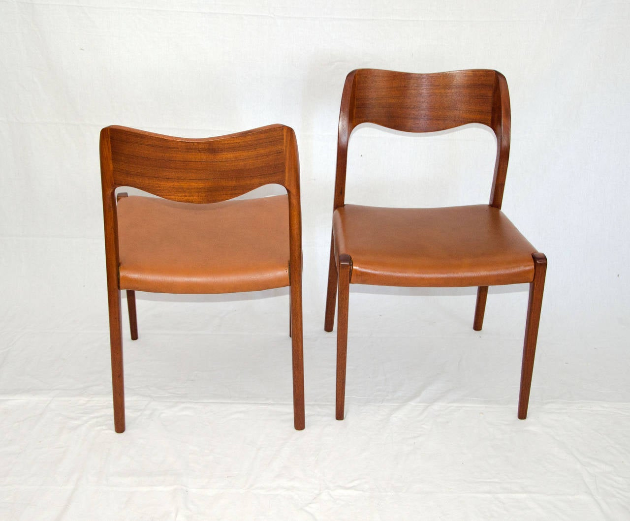 Of four chairs in oak and patinated cognac leather for sale at 1stdibs - Set Of Four Danish Teak Dining Chairs Moller Model No 71 3