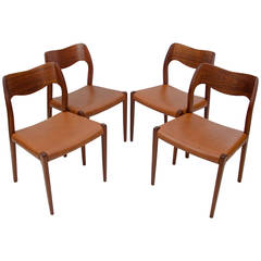 Set of Four Danish Teak Dining Chairs, Moller Model No. 71