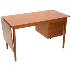 Danish Teak Desk, Sliding Drawers, Arne Vodder
