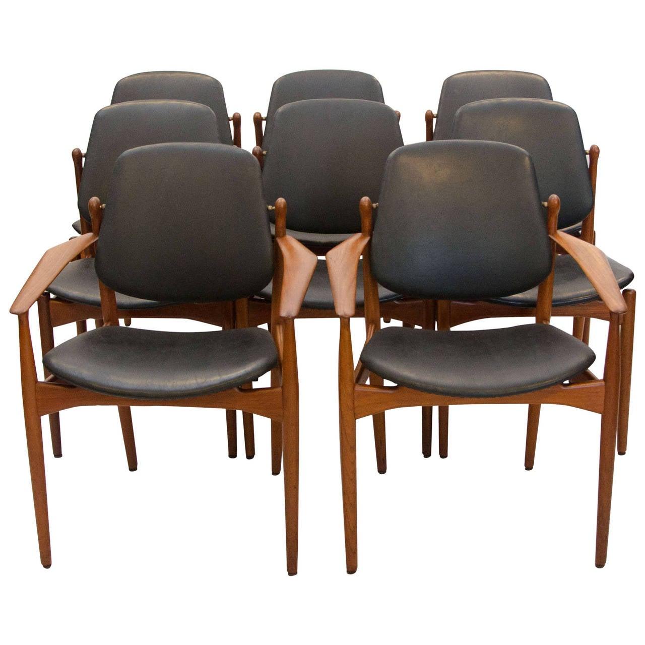 eight danish teak dining chairs arne vodder. Black Bedroom Furniture Sets. Home Design Ideas