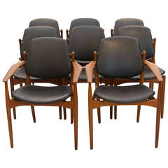 Eight Danish Teak Dining Chairs, Arne Vodder