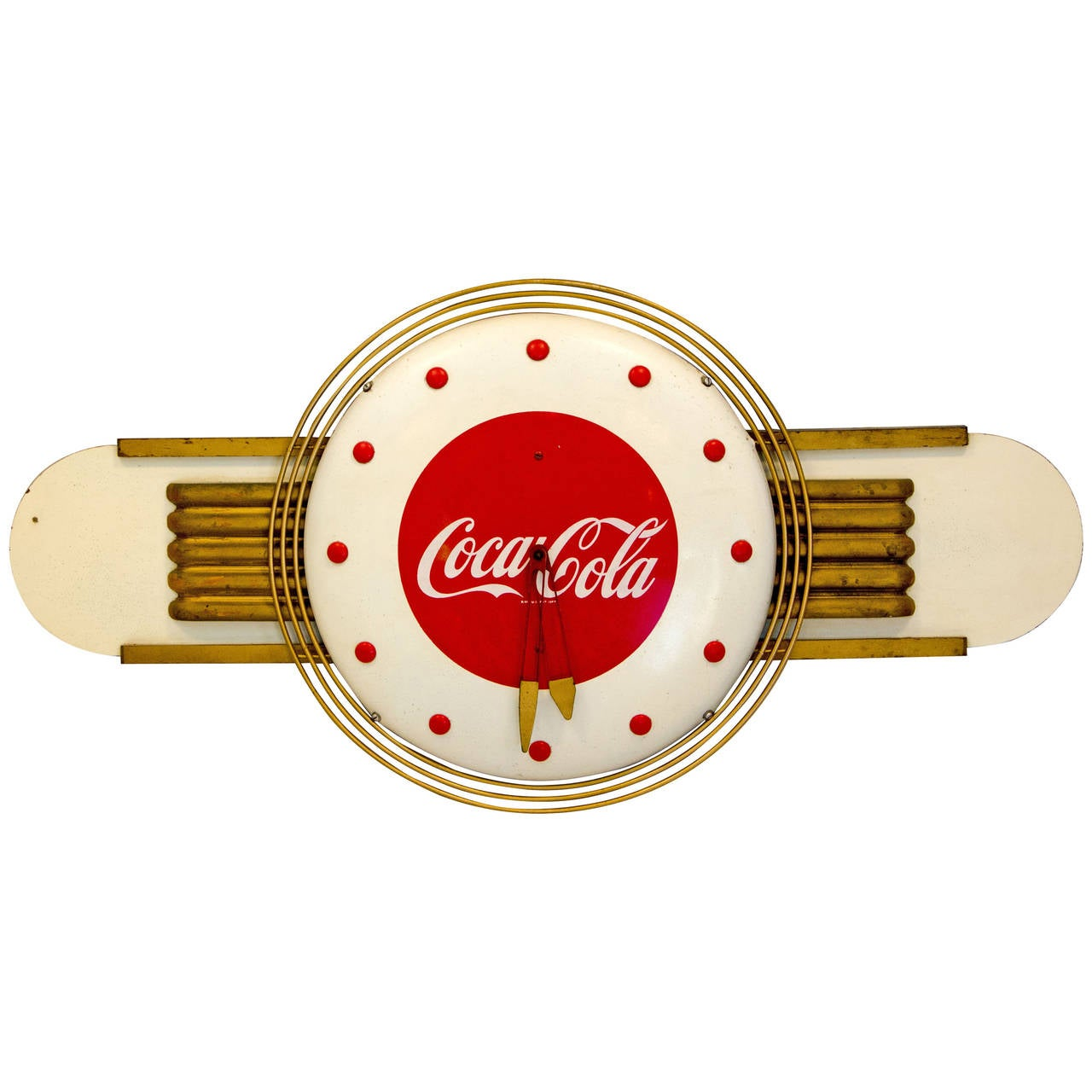 coca cola art deco style wall clock at 1stdibs. Black Bedroom Furniture Sets. Home Design Ideas